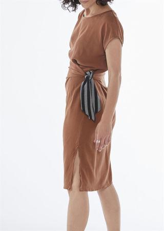 """Picture of """"ariadne"""" midi dress in rusty brown"""
