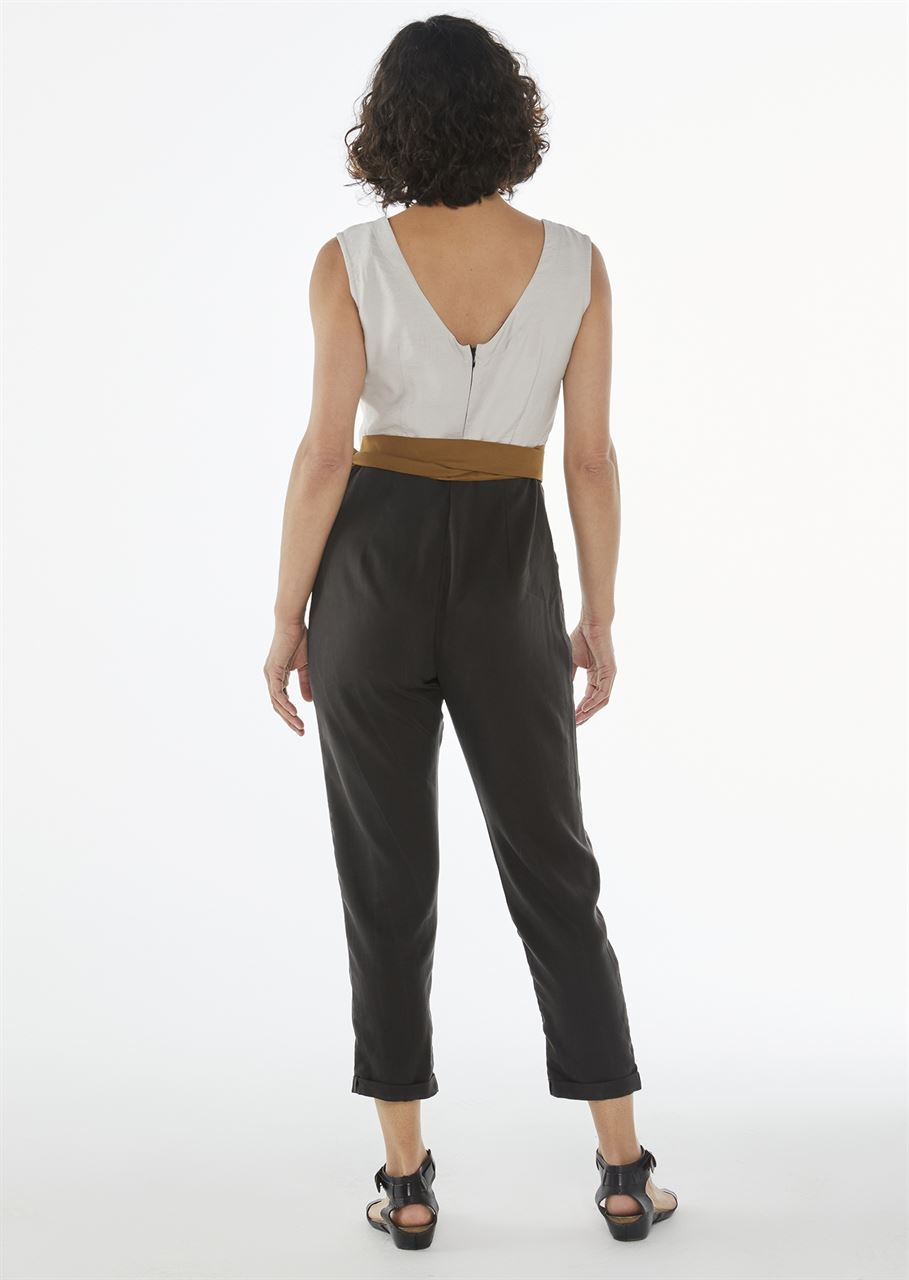 """Picture of """"chic and belted""""  jumpsuit in black/white/ochre"""