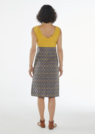 Picture of Bodycon dress in mustard- blue