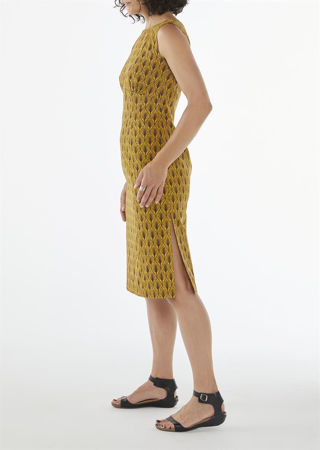 Picture of Bodycon dress in mustard leaves
