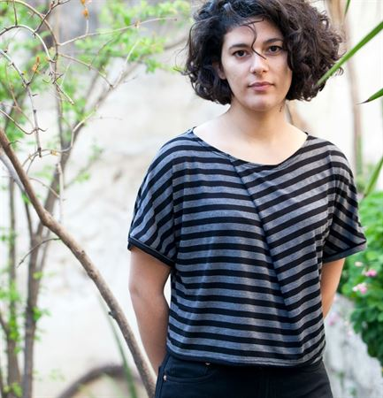 Picture of pleated crop top in black grey stripes