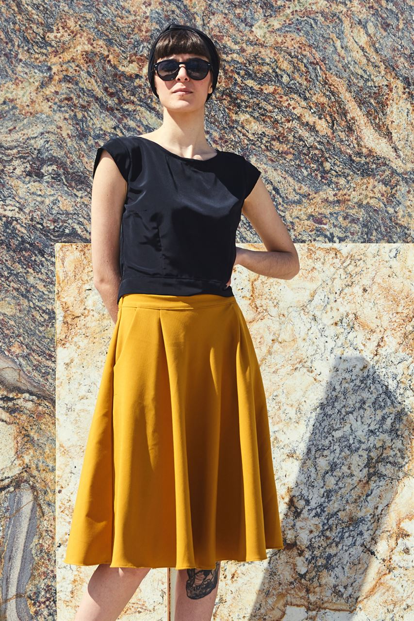 Picture of flared midi skirt in mustard