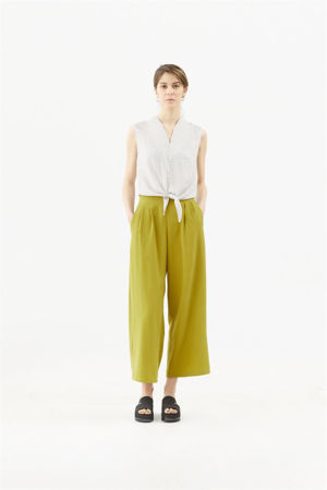 Picture of  high waist  wide leg pants in lime