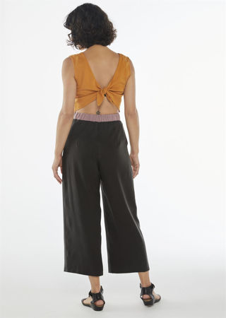 """Picture of  """"knot"""" jumpsuit in orange- lilac- black"""
