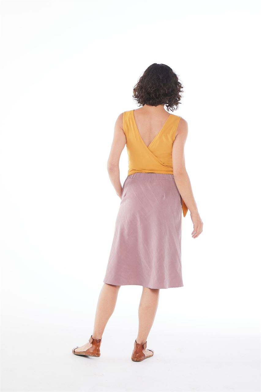 Picture of  back wrap flared dress pastel
