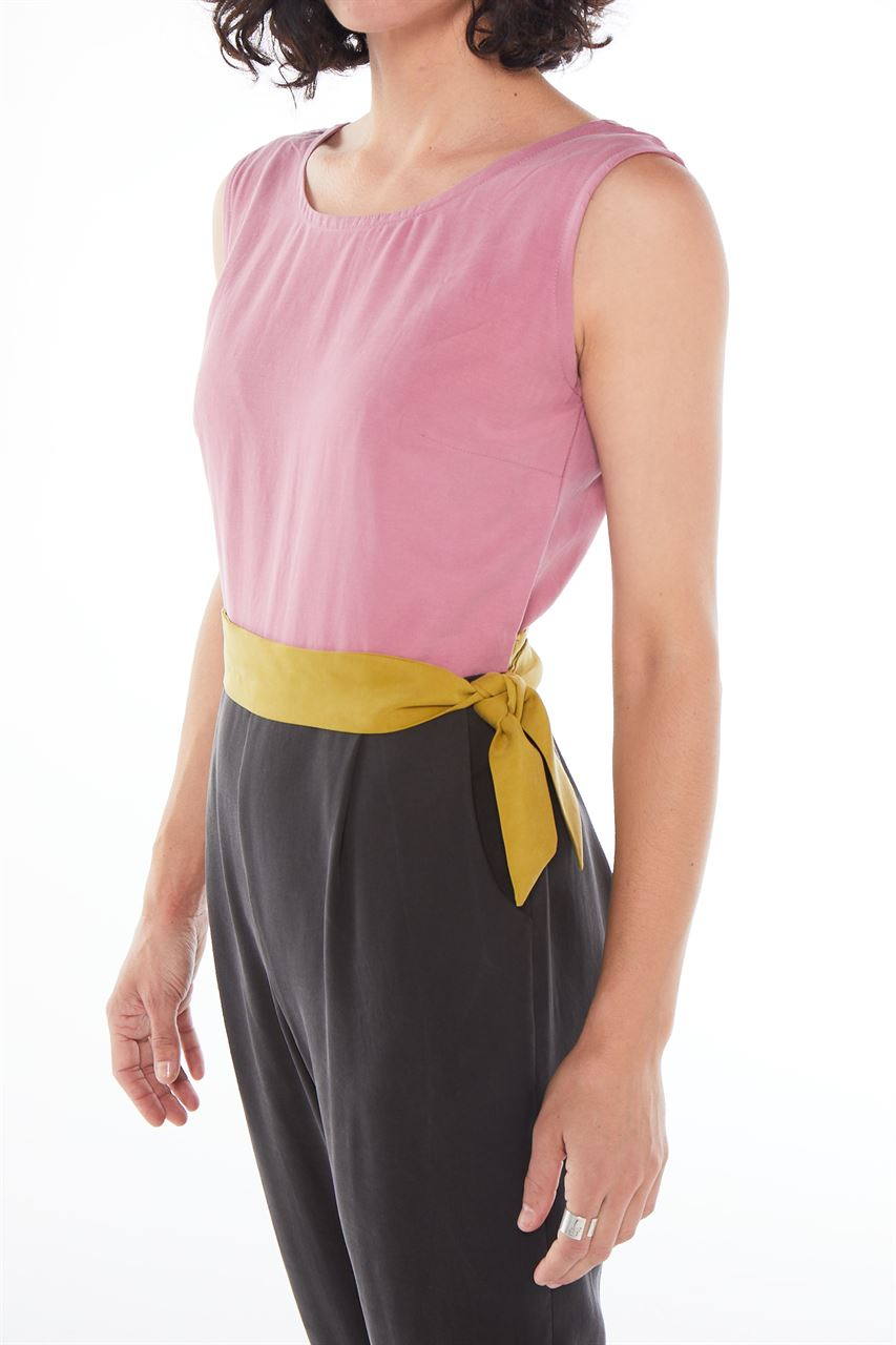 """Picture of """"chic and belted""""  jumpsuit in black/pink/lime"""