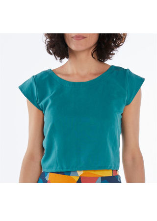 Picture of low back crop top teal