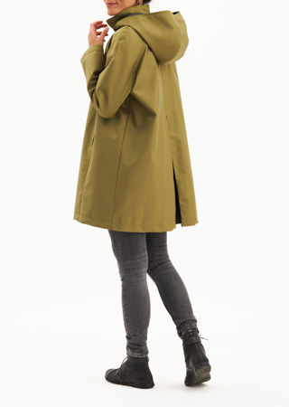 Picture of Water repellent  long jacket in olive green