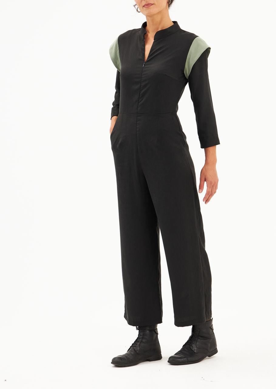 """Picture of """"KIM"""" jumpsuit in black- pistachio"""